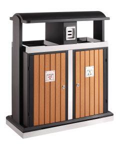 External 2 Compartment Recycling Bin - 100 Litre