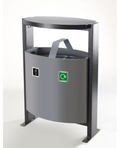 Steel Outdoor Recycling Bin - 2 x 39 Litre Compartments
