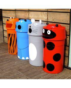 Novelty Animal Face Recycling Bins - 90 Litre