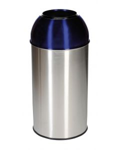 Stainless Steel Recycling Bin with Coloured Domed Lids - 40 Litre