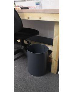 Round Powder Coated Metal Waste Bin - Dark Grey - 15 Litre