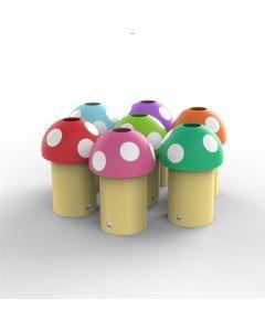 Novelty Mushroom Litter Bin with Optional Smiley Face - 60 Litre