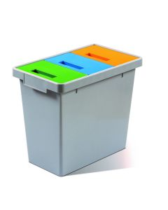 Colour Co-ordinated 3 Compartment Litter Bin - 30 Litre