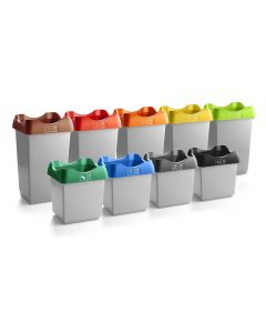 Open Top Recycling Bin with Coloured Lids and Stickers - 50 Litre