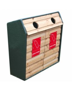 Double Timber Fronted Recycling Unit - 196 Litres