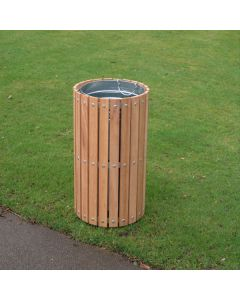 Circular Timber Slatted Outdoor Bin - 56 Litre
