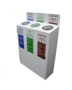 Slimline 3 Bay Recycle Station - 3 x 50 Litre Compartments