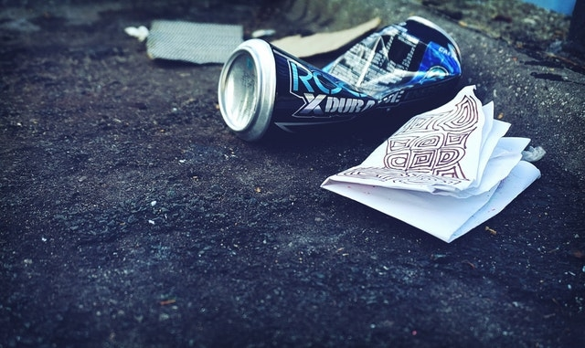 litter on sidewalk