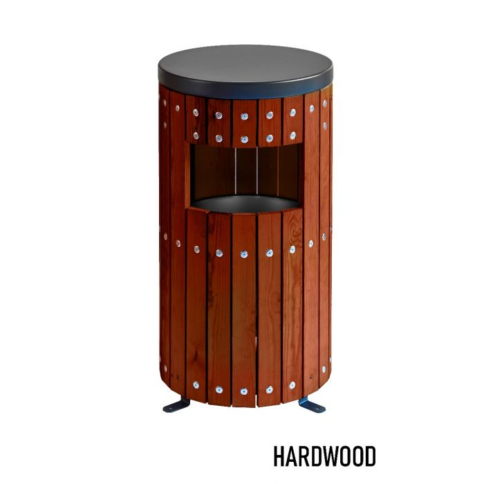 Round Wood Effect Outdoor Litter Bin 33 Litre