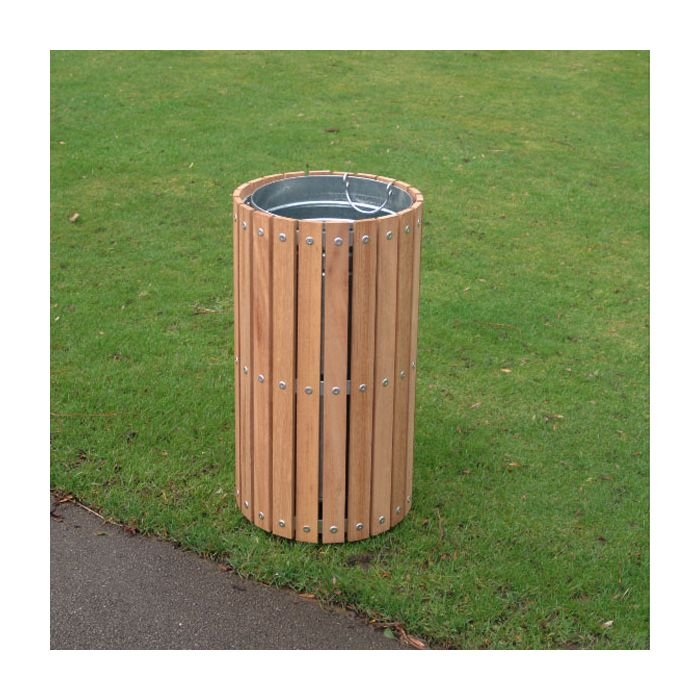 Circular Timber Slatted Outdoor Bin 56 Litre