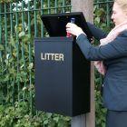Square Post Mountable Litter Bin - 56 Litre