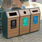 Timber Fronted Triple Wood Recycling Bin - 294 Litre