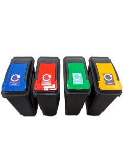Recycling Bin with Coloured Lid and Choice of Sticker - 25 Litre