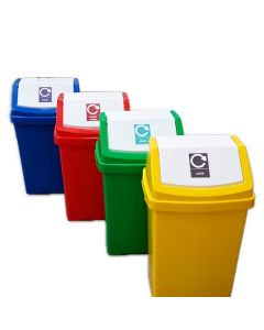 Flip Top Recycling Bin with Stickers - 50 Litre