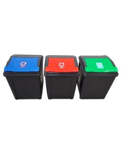 Recycling Bin with Coloured Lid and Choice of Sticker - 50 Litre