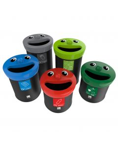 Novelty Smiley Face Recycling Bins Available in 3 Sizes and 6 Colour Options