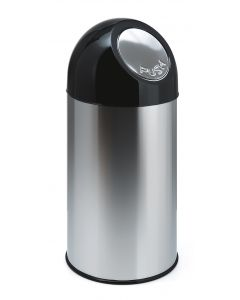 Stainless Steel Push Lid with Liner - 40 Litre