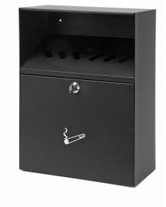 Wall Mounted Cigarette Bin with Rain Cover - 300 Butt Capacity