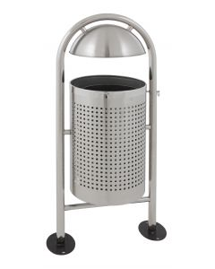 Round Tiltable Outdoor Litter Bin - 27 Litre