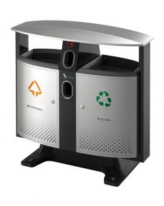 Outdoor Recycling Bin with Battery Compartment - 78 Litre