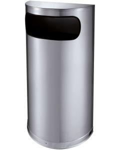 Semi Circular Stainless Steel Litter Bin - 35 Litre