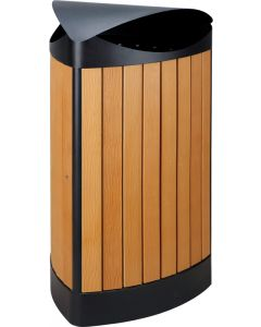 Triangular Wood Effect Litter Bin - 60 Litre