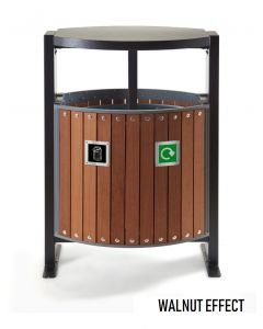 Wood Effect Outdoor Litter Bin - 2 x 39 Litre Compartments Now UK Manufactured