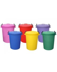 Coloured Outdoor Plastic Dustbin with Lockable Lid - 110 Litre