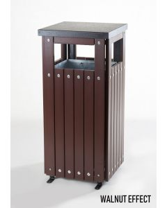 Square Wood Effect Outdoor Litter Bin - 36 Litre