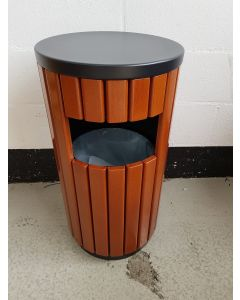 Metal Wood Effect Outdoor Litter Bin - 40 Litre