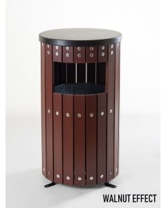 Round Wood Effect Outdoor Litter Bin - 33 Litre