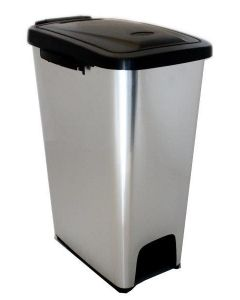 Metal Look Plastic Litter Bin - 16 & 27 Litres Available