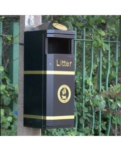 Post Mountable Closed Top Litter Bin - 70 Litre