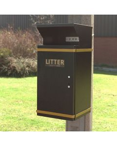 Post Mountable Hooded Litter Bin - 42 Litre