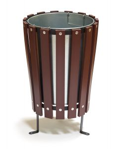 Wood Effect Conical Open Top Park Litter Bin - 40 Litre