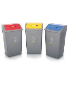 Recycling Bins with Coloured Lids and Recycling Stickers - Set of 3 - 54 Litre
