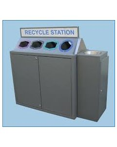 Powder Coated 4 Bay Recycle Station