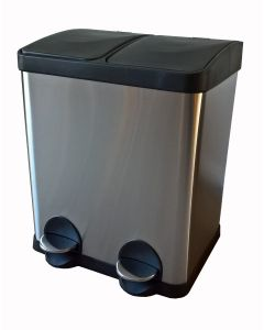 Twin Compartment Pedal Bin for Recycling - 30 Litre
