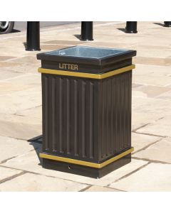 Square Fluted Open Top Litter Bin - 112 Litre