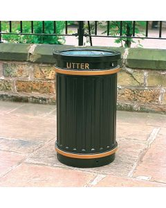 Circular Fluted Open Top Litter Bin - 84 Litres