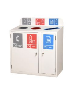 Zeus 3 Bay Recycling Station - 3 x 80  Litre Compartments